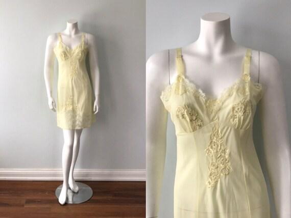 Vintage Yellow Full Slip, Vintage Slip, 1960s Full