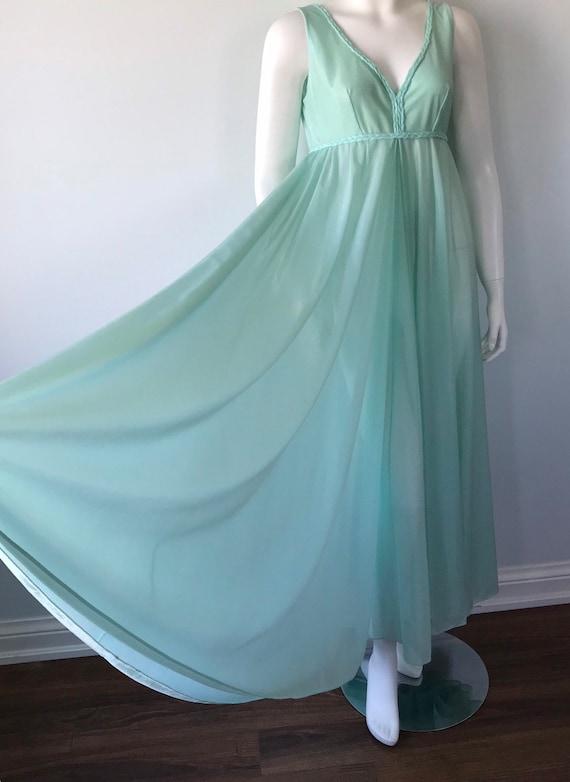 Vintage Mint Green Nightgown, 1970s Nightgown, Li… - image 5
