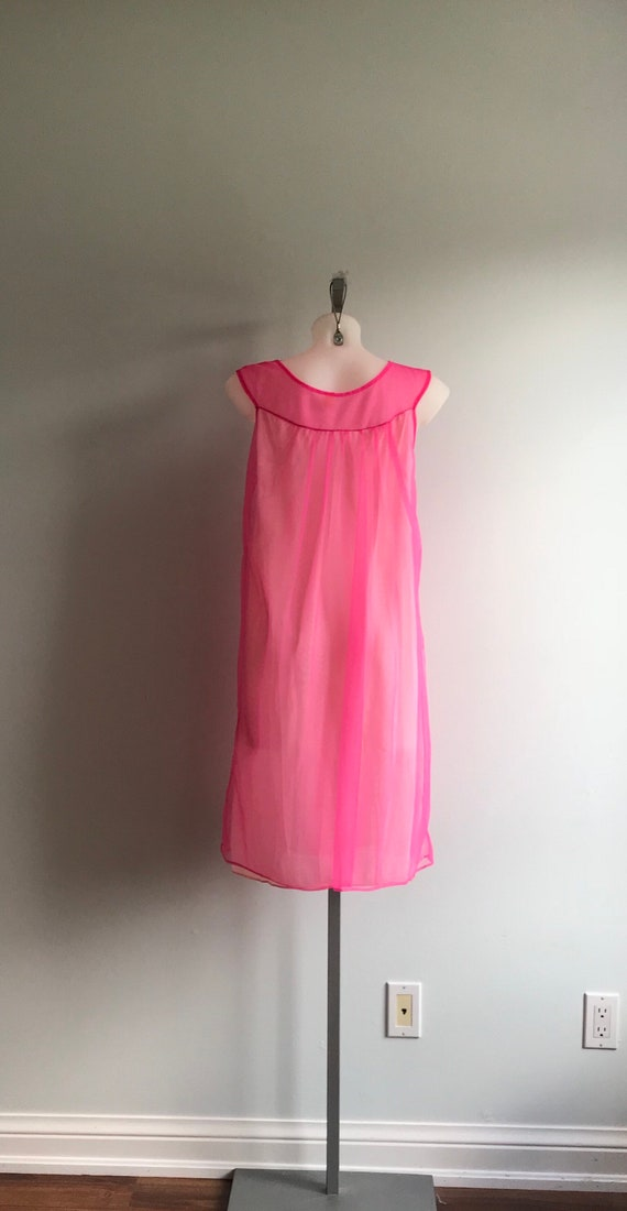 Vintage Pink Chiffon Nightgown, Short Nightgown, … - image 7