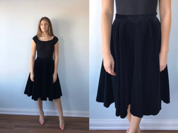 Rare Vintage Black Velvet Circle Skirt, Lou Larry,