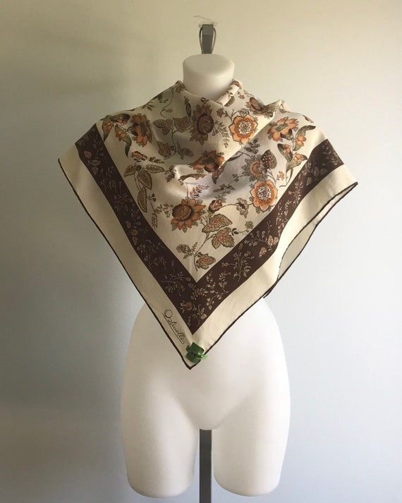 Vintage Ostinelli Silk Scarf, Ivory and Brown Flor