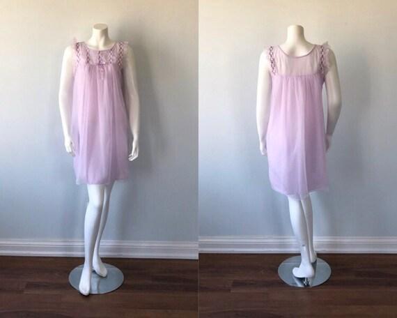 Vintage Chiffon Nightgown, Lov Lee, 1960s Chiffon