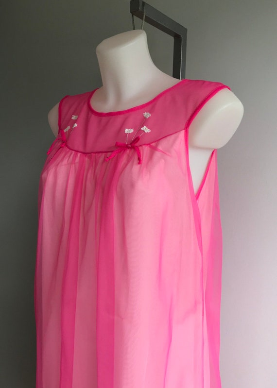 Vintage Pink Chiffon Nightgown, Short Nightgown, … - image 6