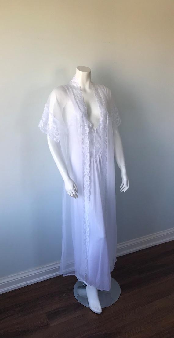 Vintage White Peignoir Set, White Peignoir Set, V… - image 3