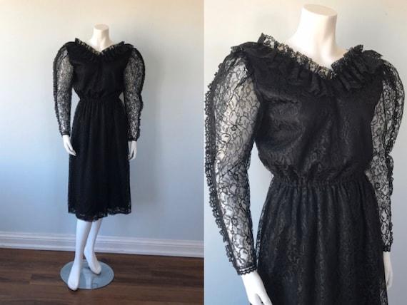Vintage Black Lace Dress, Pat Mcdonagh, 1970s Lace