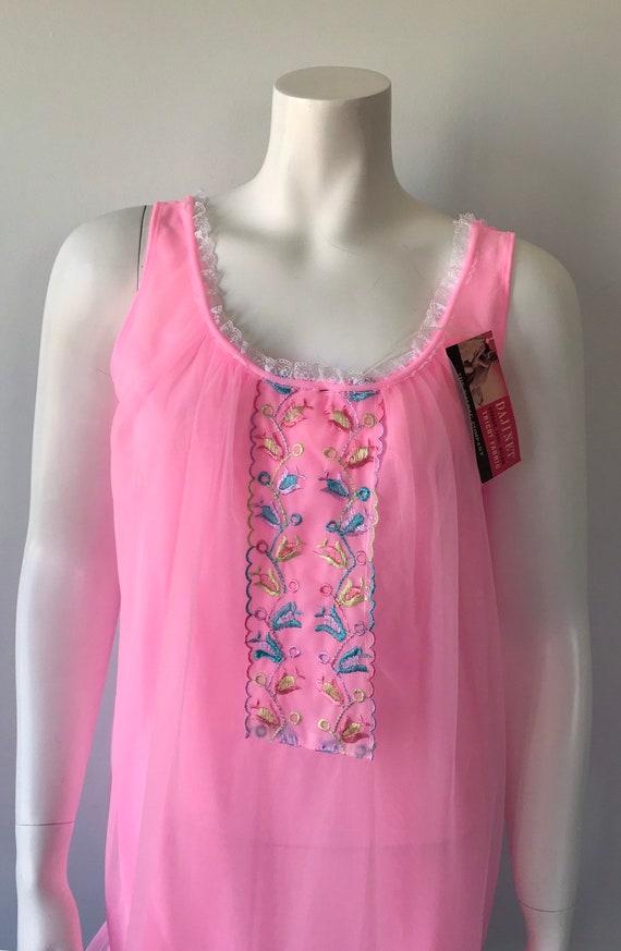 Vintage Pink Chiffon Nightgown, Hamilton Lingerie… - image 3