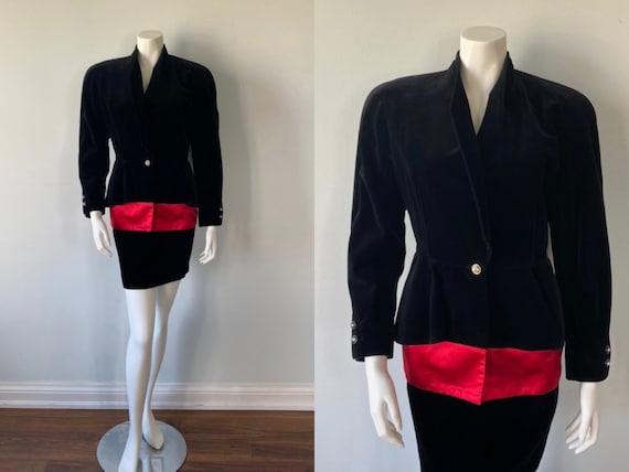 Vintage Black Velvet Skirt Suit, 1980s Velvet Skir