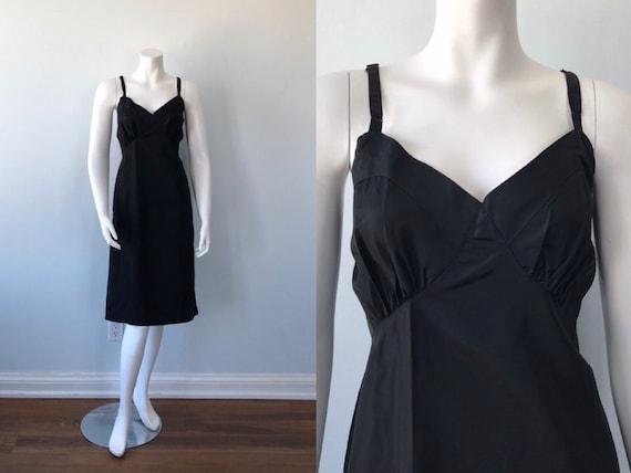 Vintage Black Full Slip, 1950s Black Slip, Classic