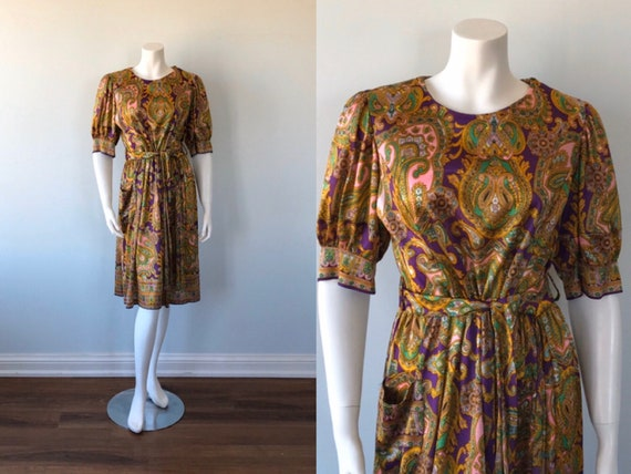 Vintage 1960s Paisley Print Dress, Paisley Dress,