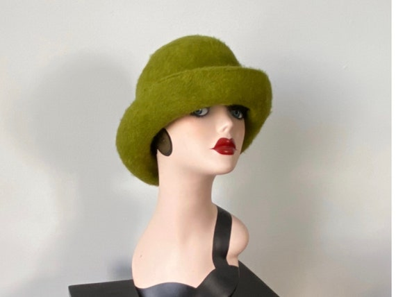 Vintage Green Melusine Hat, Vintage Hat, 1960s Hat