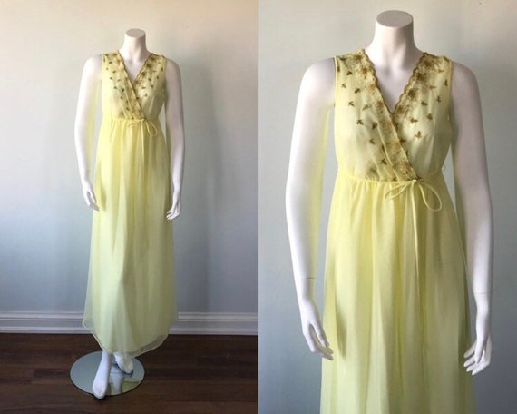 Vintage Yellow Chiffon Nightgown, Slumber Suzy, 1… - image 1