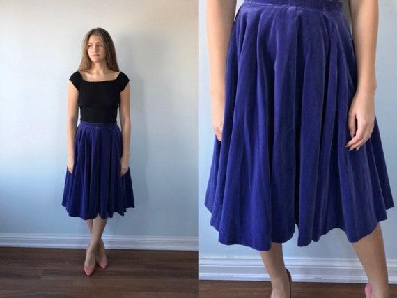 Vintage Purple Velvet Skirt, 1950s Velvet Skirt, L