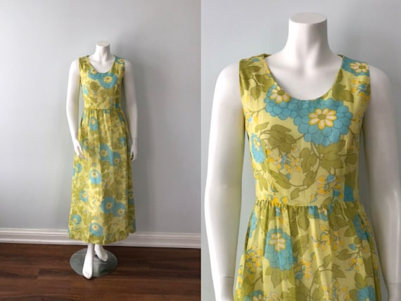 Vintage Cotton Dress, Floral Cotton Dress, Green F