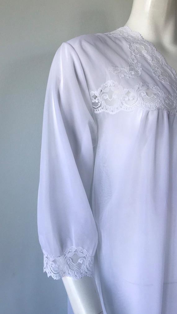 Vintage White Double Chiffon Nightgown, 1970s Nig… - image 5