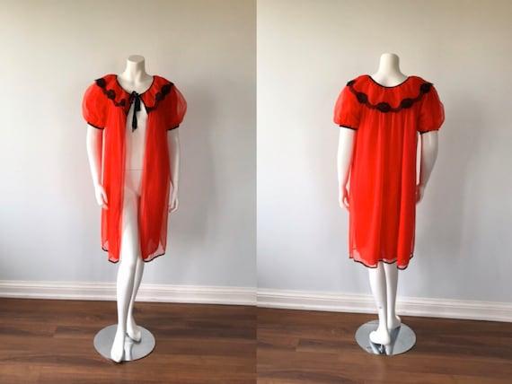 Vintage Chiffon Red Negligee, 1960s Chiffon Robe,