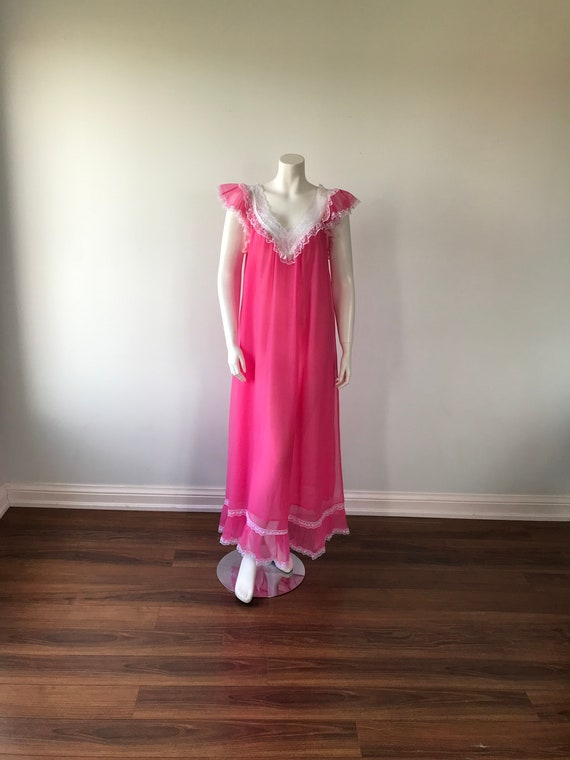 1960s Pink Chiffon Nightgown, Pink Chiffon Nightg… - image 2