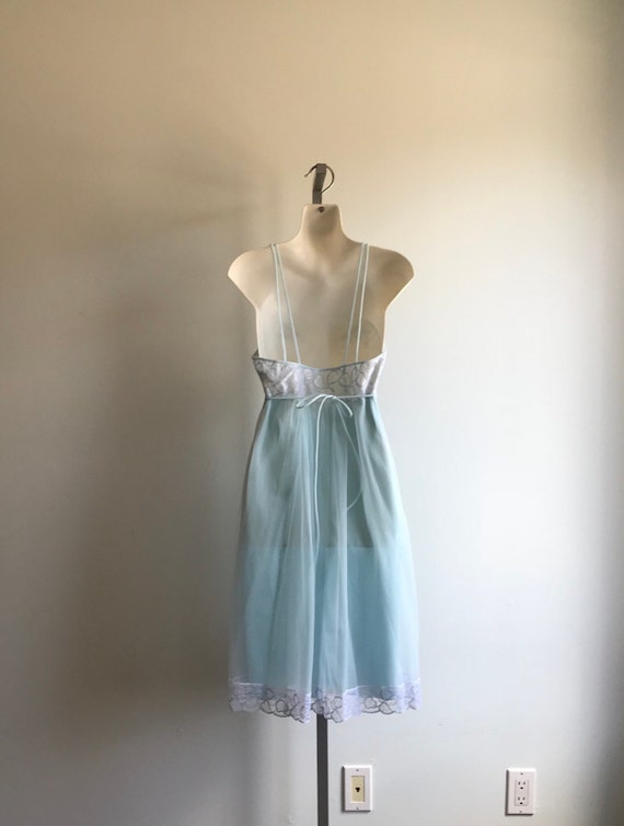 Vintage Pale Blue Chiffon Nightgown, French Maid.… - image 8