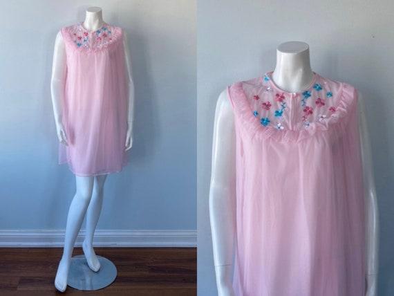 Vintage Pink Chiffon Nightgown, 1960s Pink Chiffon