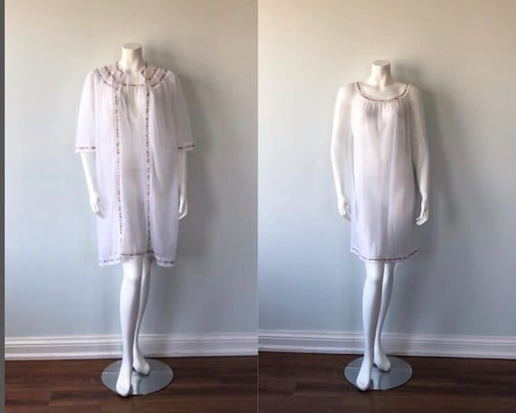 Vintage White Chiffon Peignoir Set, Vintage Double
