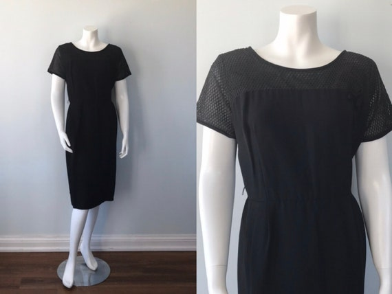 Vintage Black Cocktail Dress, 1960s Black Cocktail