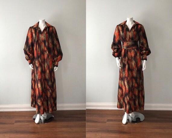 Vintage 1970s Hostess Dress, Vintage Caftan, Vinta