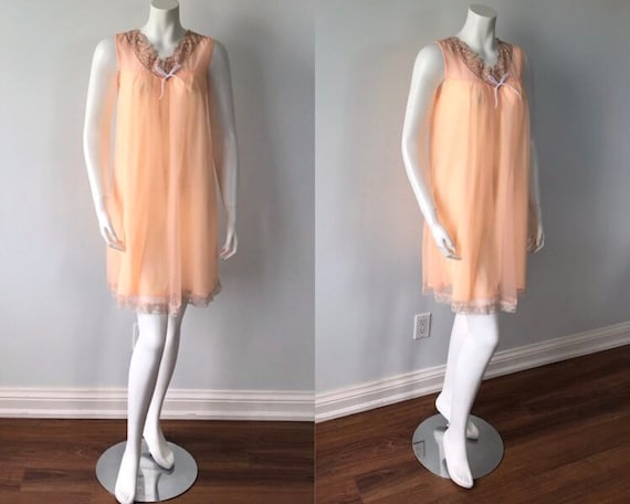 Vintage Peach Chiffon Nightgown, 1960s Chiffon Nig