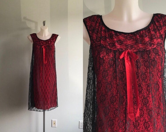 Vintage Black Lace Short Nightgown, Black with Red