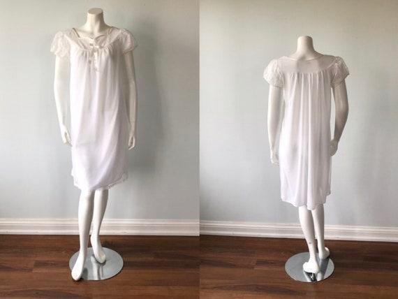 Vintage Whte Chiffon Nightgown, White Chiffon Nigh