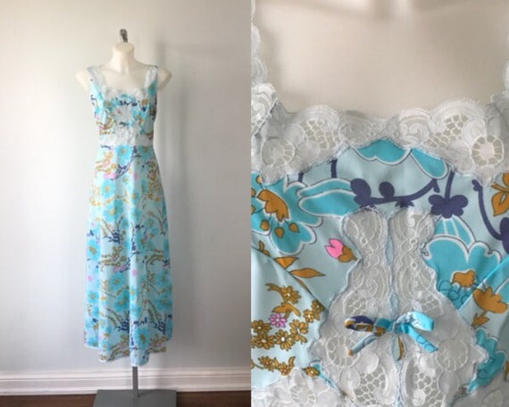 Vintage Gafer Floral Nightgown, Gafer, Blue Floral