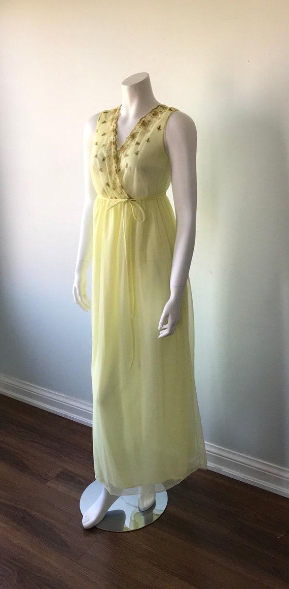 Vintage Yellow Chiffon Nightgown, Slumber Suzy, 1… - image 5