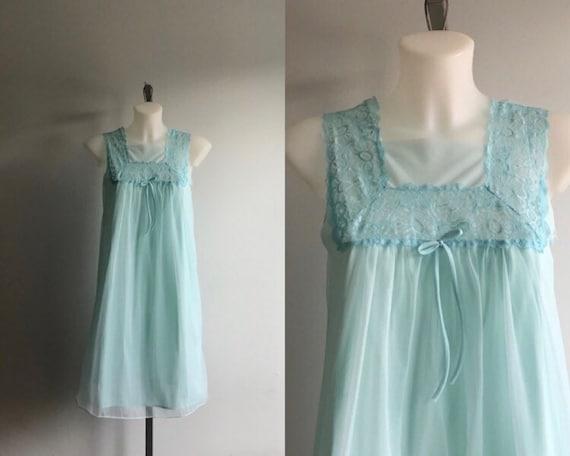 Vintage Aqua Blue Chiffon Nightgown, Vintage Night