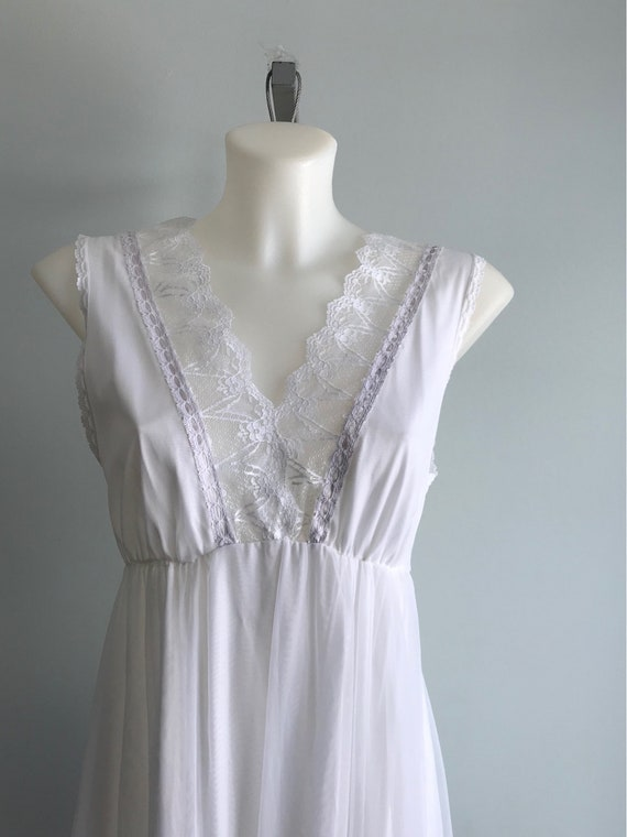 White Chiffon Nightgown, 1960s Nightgown, Tosca, … - image 5