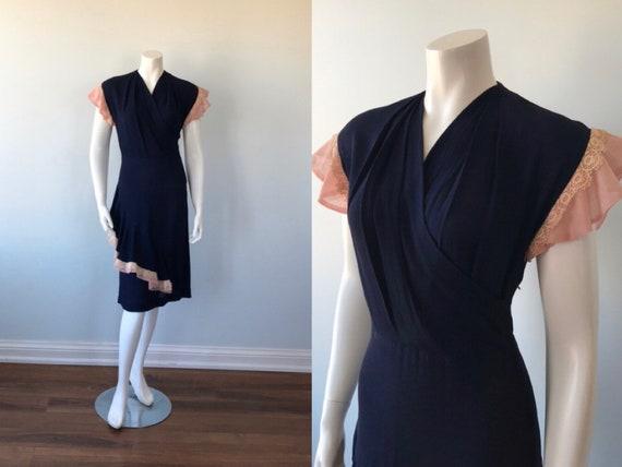 Vintage Dress, 1940s Dress, Vintage Blue Dress, Ca