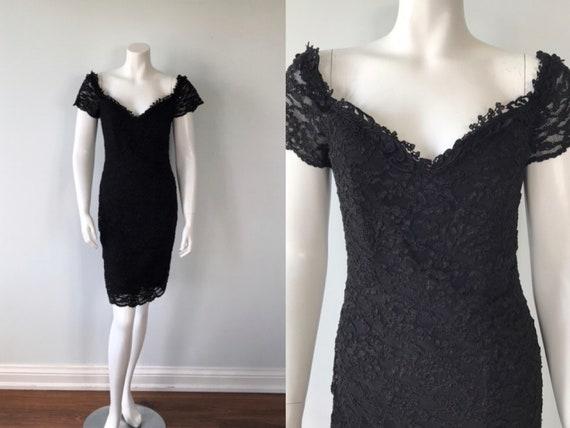Vintage Black Lace Cocktail Dress, 1990s Cocktail