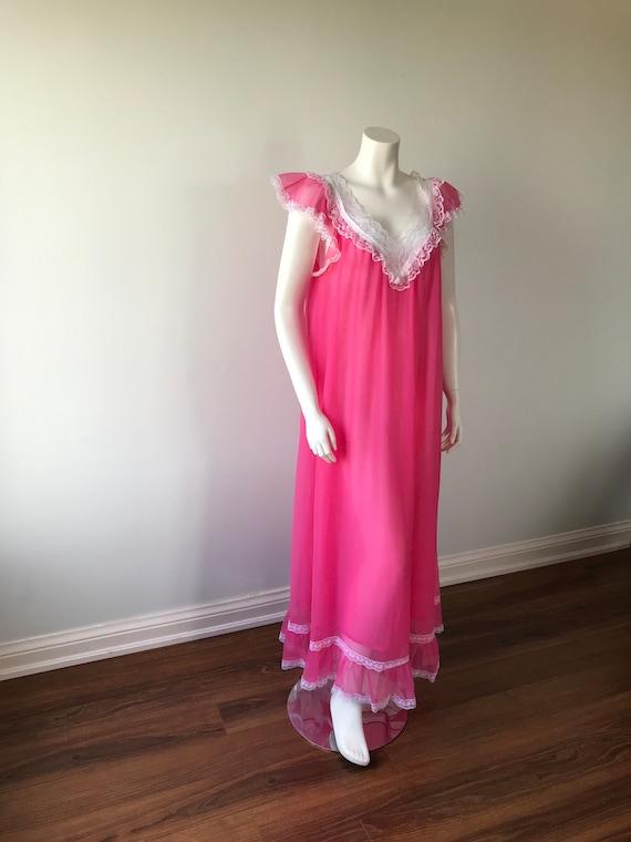 1960s Pink Chiffon Nightgown, Pink Chiffon Nightg… - image 5