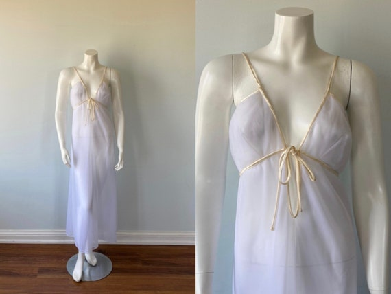 1960s White Double Chiffon Nightgown,  Claire Hadd