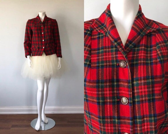 Vintage Pendleton Red Plaid Ladies Jacket, 1960s P