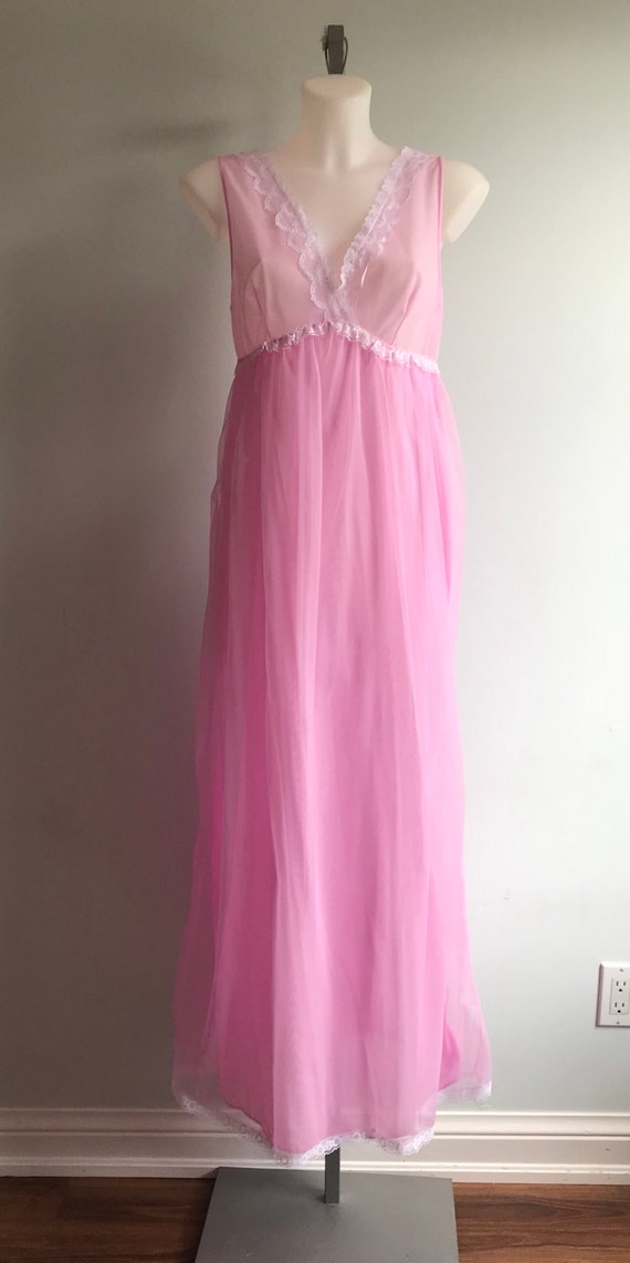 Vintage Chiffon Nightgown, 1960s Nightgown, Orchi… - image 2