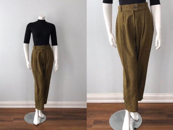 Vintage Cropped Ladies Pants, Wool Blend Pants, Fa
