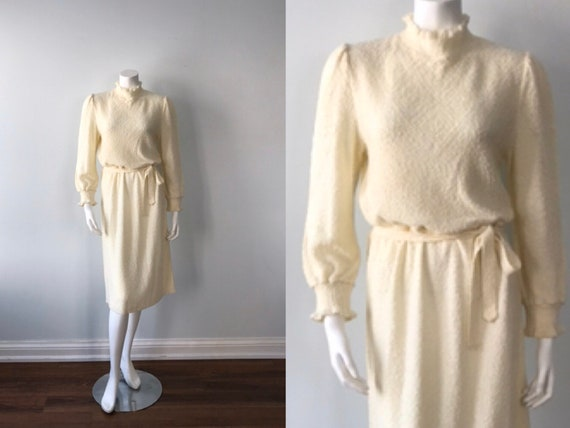 Vintage Cream Knit Dress, Casual Dress, Fall Dress