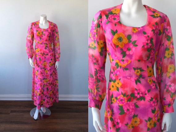 Vintage Dress, Vintage Chiffon Dress, Wedding, Flo