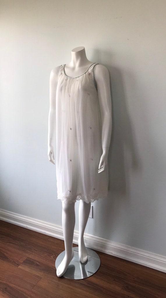 Vintage White Chiffon Nightgown, Miss Siren, 1960… - image 6