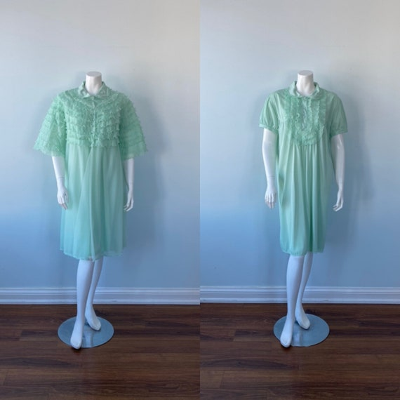 Vintage Green Peignoir Set, Silfra, 1970s Peignoir