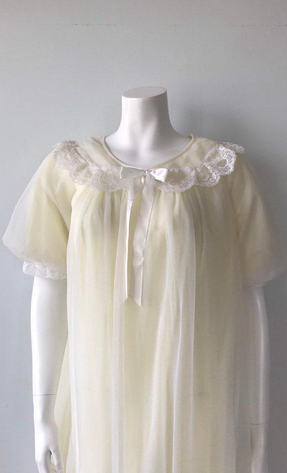 Vintage Chiffon Nightgown, St Michael, Pale Yello… - image 3