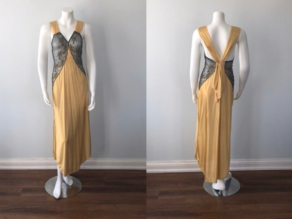 Vintage Nightgown, Luxite, 1950s Nightgown, Gold N