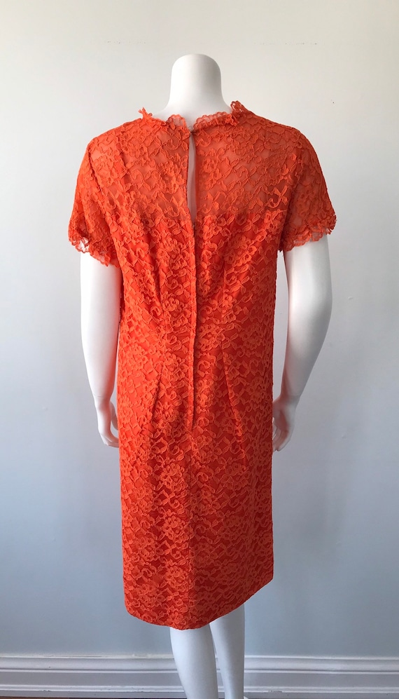 Vintage Orange Lace Dress, 1960s Lace Dress, Vint… - image 7