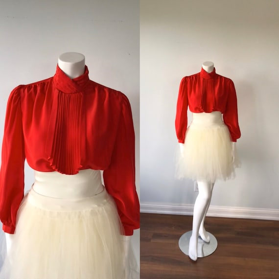 Vintage Red Long Sleeved Blouse, Miss Tee, Jabot B
