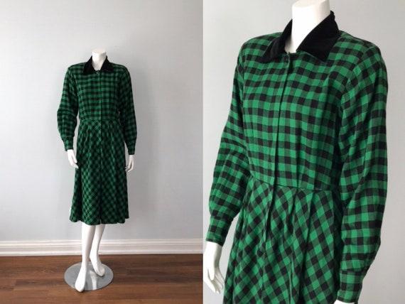 Vintage Green Plaid Dress, Viyella Green Plaid Dre