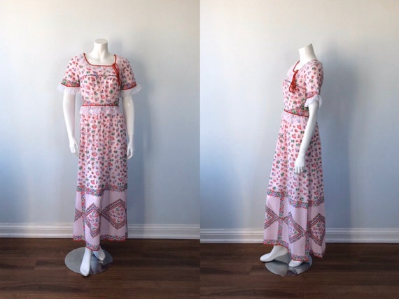 Vintage Pink Floral Nightgown, Silfra, 1970s Night