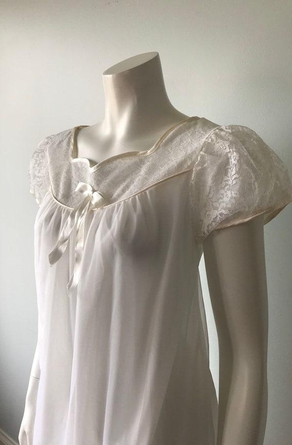 Vintage Whte Chiffon Nightgown, White Chiffon Nig… - image 4